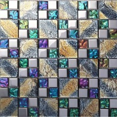 Iridescent Mosaic Tile Plated Crystal Glass Backsplash Kitchen Designs Bathroom Wall Tiles IPG1391