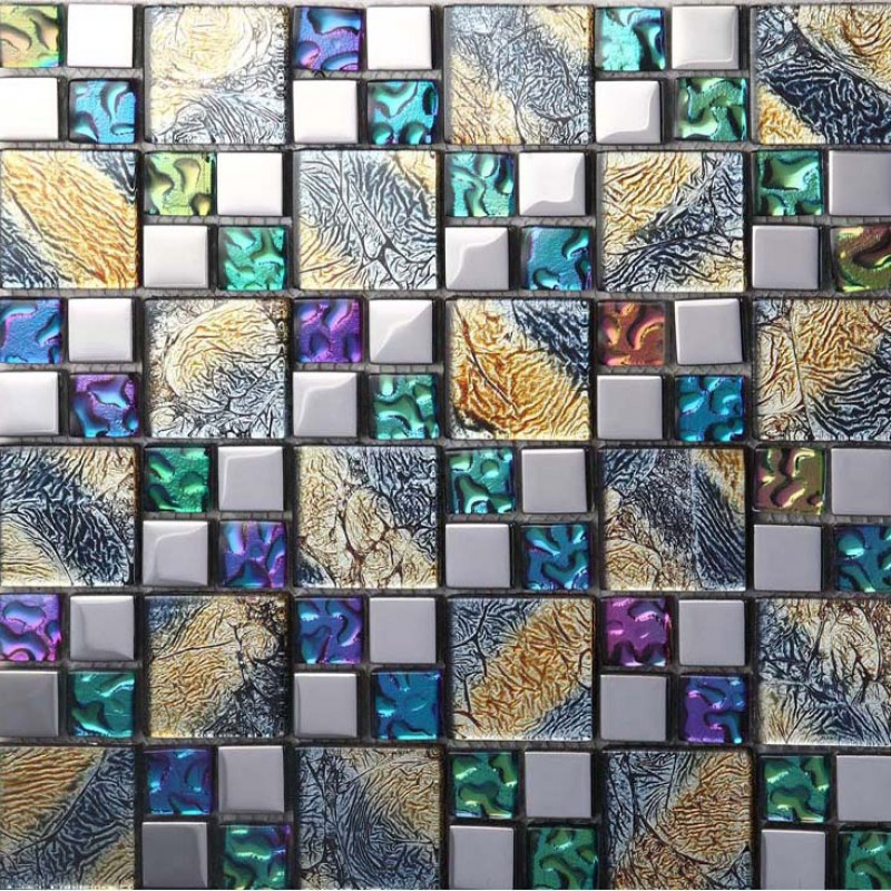 Iridescent Mosaic Tile Plated Crystal Glass Backsplash Kitchen Designs
