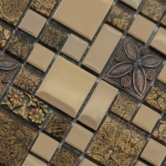 Wholesale Crystal Glass Resin Patterns Mosaic Tile Design Plated Porcelain Flooring Kitchen Backsplash GST03