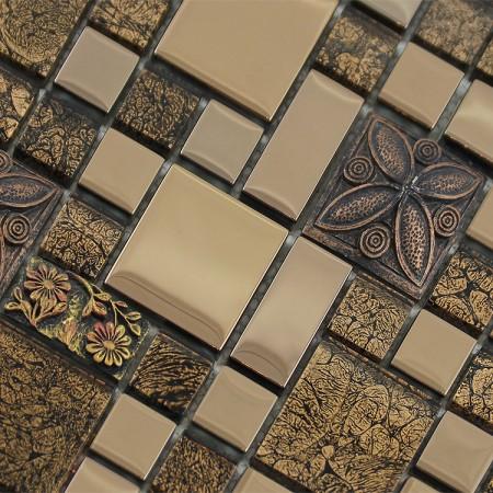 Wholesale Crystal Glass Resin Patterns Mosaic Tile Design Plated Porcelain Flooring Kitchen Backsplash GST03