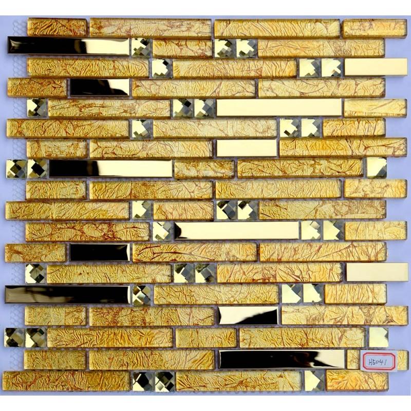 Metal And Glass Diamond Chrome Stainless Steel Backsplash Tiles Gold Crystal Glass Mosaic Interlocking Tile H5041