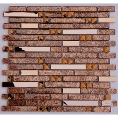 Metal and Glass Diamond Stainless Steel Backsplash Tiles Brown Crystal Glass Mosaic Interlocking Tile H5089