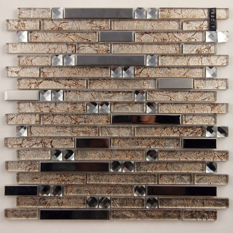 Metal And Gl Diamond Silver Stainless Steel Backsplash Tiles Brown Crystal Mosaic Interlocking Tile Yb2017