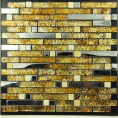 Metal and Glass Silver Stainless Steel Backsplash Wall Tiles Gold Crystal Glass Mosaic Interlocking Tile YB2020