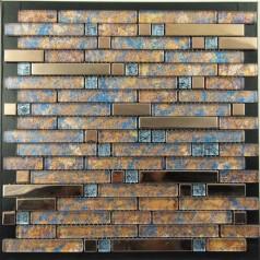 Metal and Glass Gold Stainless Steel Backsplash Wall Tiles Blue Crystal Glass Mosaic Interlocking Tile YB2022