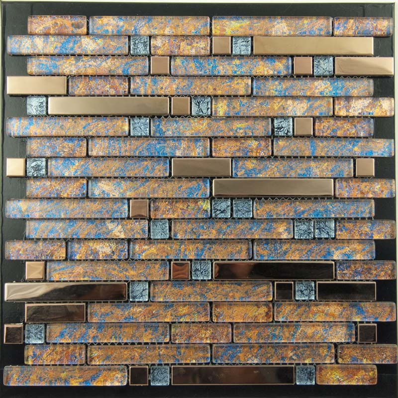 home metal and glass gold stainless steel backsplash wall tiles blue