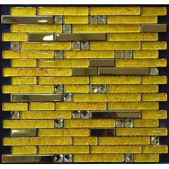 Metal and Glass Diamond Stainless Steel Backsplash Wall Tiles Gold Crystal Glass Mosaic Interlocking Tile YB2067