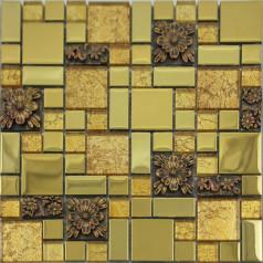 Glass Mosaic Tiles Blacksplash Crystal Resin Patterns Bathroom Plated Glass Wall Colors Stickers GSA03