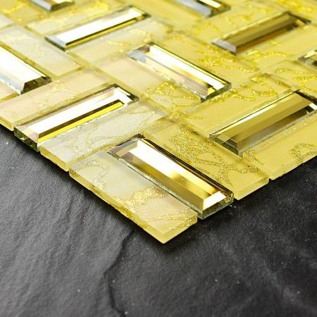 Crystal Mosaic Tile Sheets Gold Brick Bathroom Wall Mirror Tile Backsplash Mirrored Glass Mosaics Stickers 4026