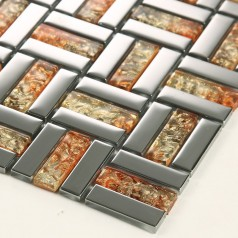 Crystal Mosaic Tile Sheets Silver Plated Glass Bathroom Wall Tiles Kitchen Backsplash Glass Mosaic Tile Shower D159