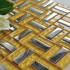 Crystal Mosaic Tile Gold Brick Silver Plated Glass Wall Tiles Backsplash Glass Mosaics Shower Tiles Designs  HP3003