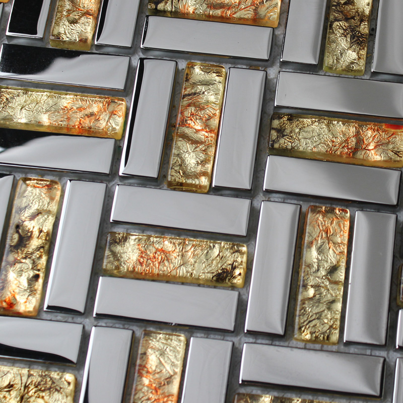 Crystal Mosaic Tile Sheets Plated Glass Wall Tiles Kitchen