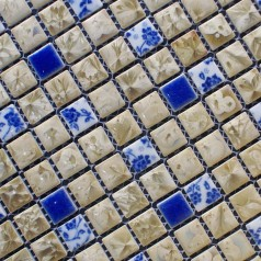 Porcelain Floor Tiles Pattern Square Shower Tile Yellow and Blue Mosaic Tile Kitchen Backsplashes