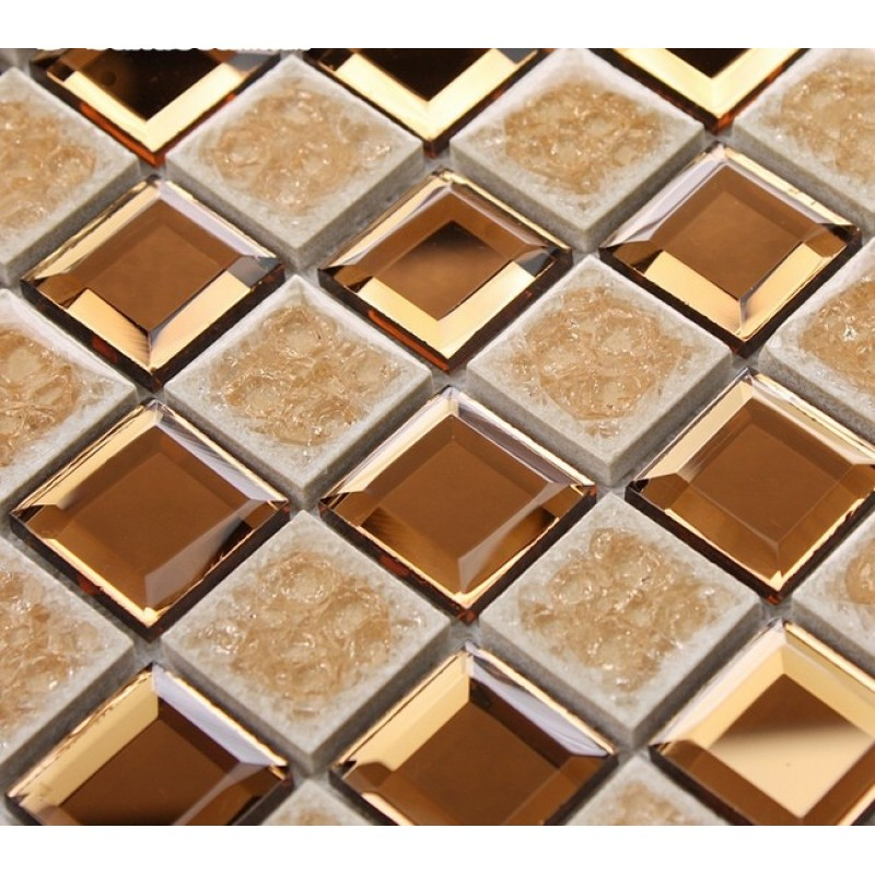 Porcelain Glass Tile Wall Backsplash Crystal Mirror Tiles