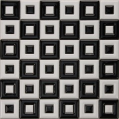 Black & White Ceramic Mosaic Bathroom Floor Tiles Uniform Porcelain Window Patterns Designs BWC9003