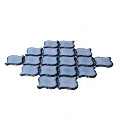 Blue Porcelain Mosaic Tile Waterjet Design Lantern Glazed Ceramic Kitchen Backsplash Tiles HCHT003