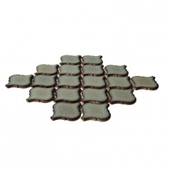 Brown Porcelain Tiles Lentern Design Waterjet Backsplash Ideas Glazed Ceramic Mosaic Tile HCHT004