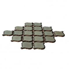 Brown Porcelain Tiles Lentern Design Waterjet Backsplash Ideas Glazed Ceramic Mosaic Tile HCHT004