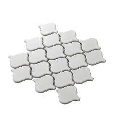Matte White Waterjet Tiles Backsplash Lantern Porcelain Mosaic Bath Shower Wall & Floor Tile HCHT006
