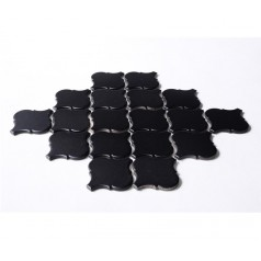 Black Porcelain Backsplash Tiles Lantern Ceramic Baking Bricks Waterjet Bathroom Wall Tile HCHT007