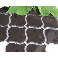 Lantern Porcelain Mosaic Fireplace Waterjet Tiles Backsplash Dark Brown Bath Ceramic Tile HCHT009