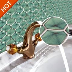Green Porcelain Bathroom Floor Tile Hexagon Ceramic Wall Tiles Backsplash for Modern Kitchen XMGT711