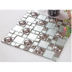 silver glazed porcelain mosaic tile sheets crystal glass mosiac mirror tiles bathroom wall kitchen backsplash KLPT069