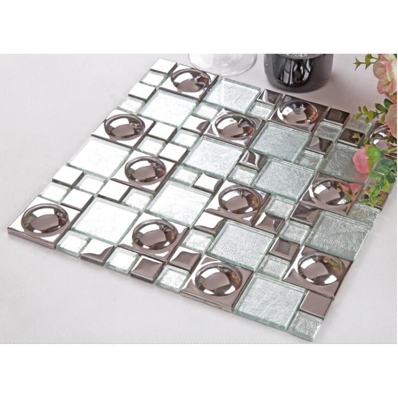 Silver Plated Porcelain Mosaic Tile Crystal Glass Mosiac Mirror Tile