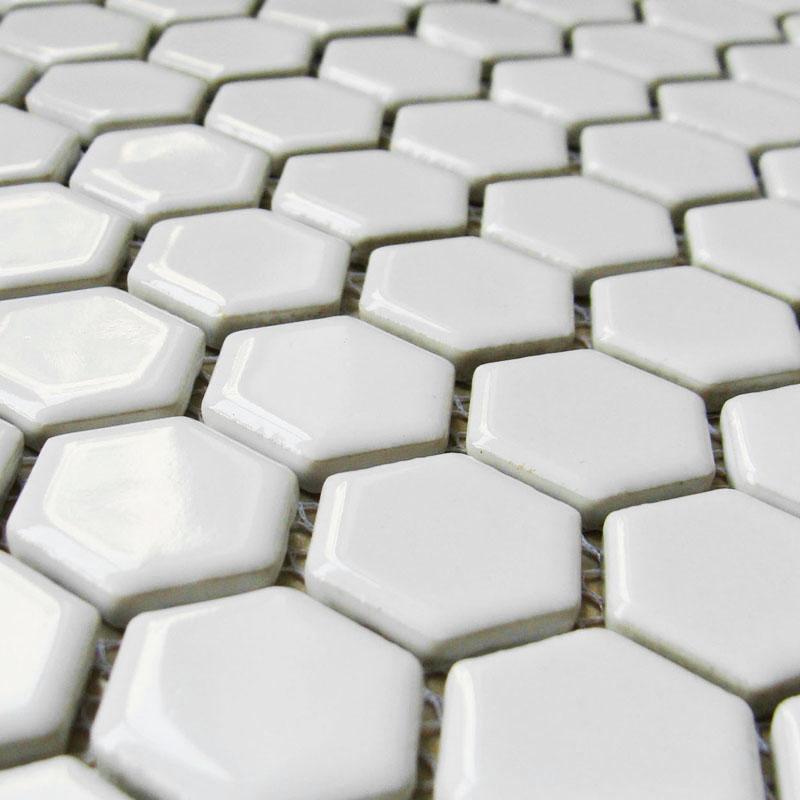 Hexagon Porcelain Floor Tiles White Shiny Mosaic Glazed