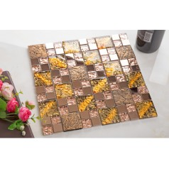 crystal glass mosaic tile porcelain flower pattern copper stainless steel metal wall backsplashes KLGT106