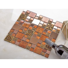 brown glass mosaic tile porcelain flower pattern metal wall backsplashes deco KLGTM70