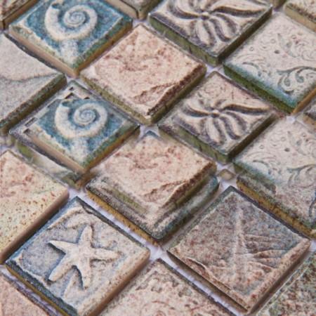 Porcelain Tile Mosaic Grey Square Ocean patternTiles Kitchen Backsplash Kitchen Wall Stickers