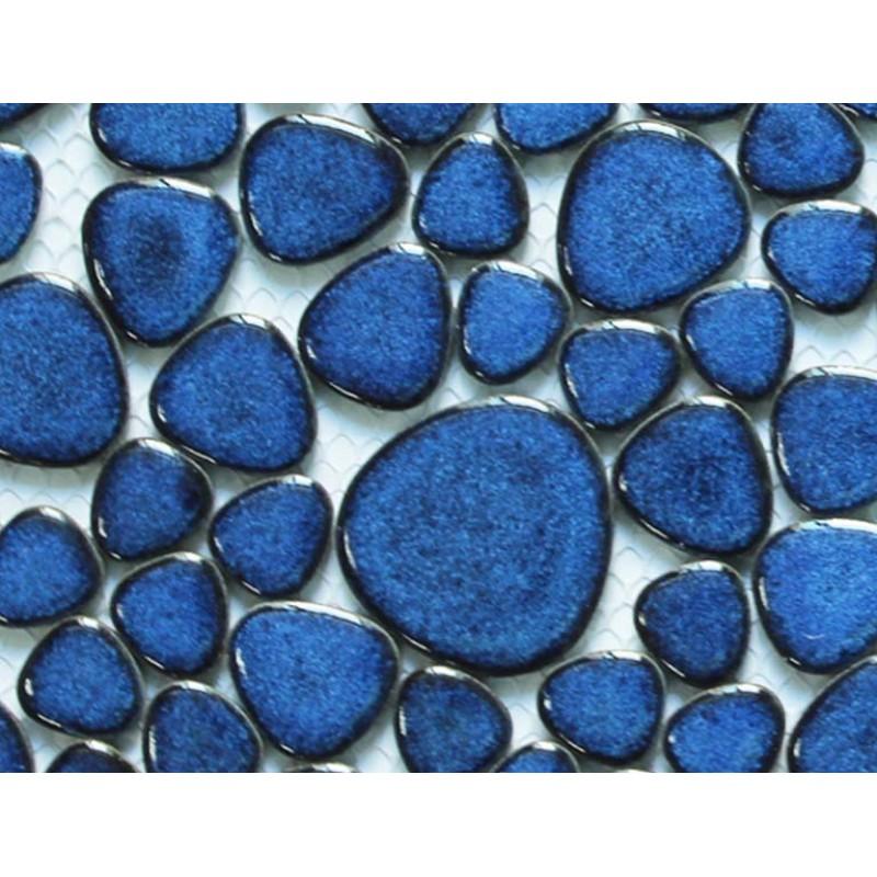 Glazed Porcelain Tile Mosaic Pebble Blue Ceramic Wall