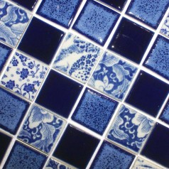 Porcelain Pool Tiles Floor Blue and White Tile Square Brick Glossy Ceramic Mosaic Wall Decor SPC144