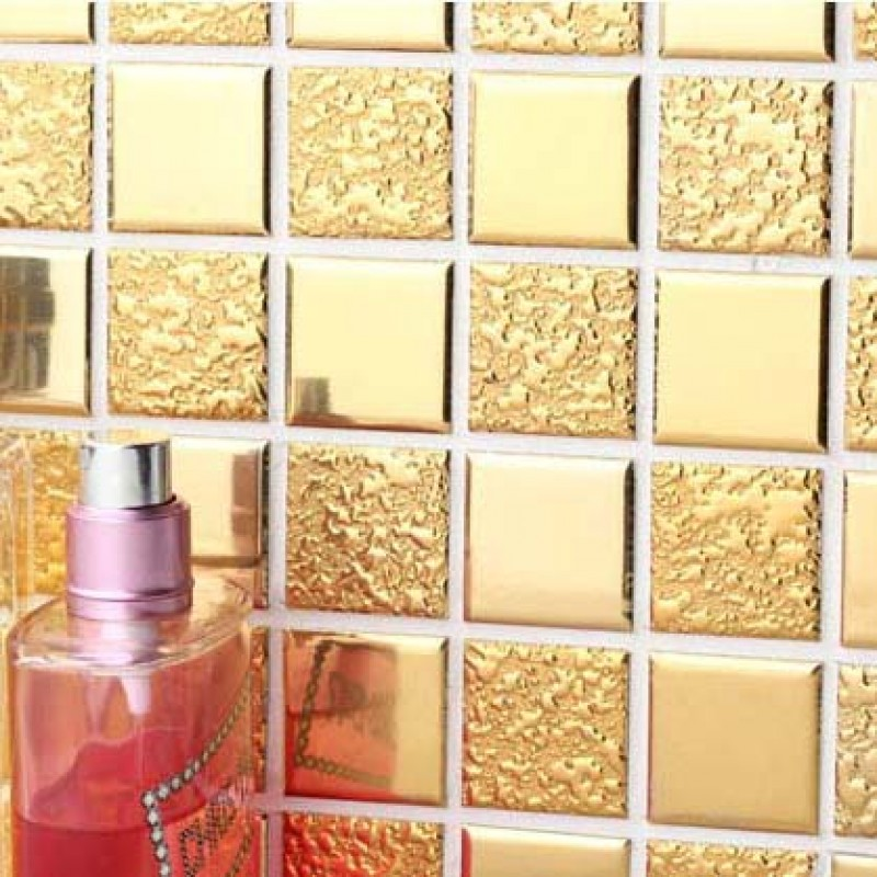... Gold Porcelain Tiles Bathroom Wall Backsplash Glaze Ceramic Small Tile  Squares Mosaic Designs GPM062 ...