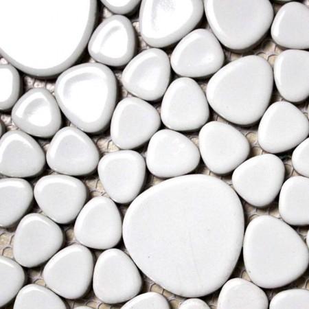 Porcelain Bathroom Wall Interior Decorative White Pebble Tile Glazed Mosaic Kitchen Backsplash Ideas