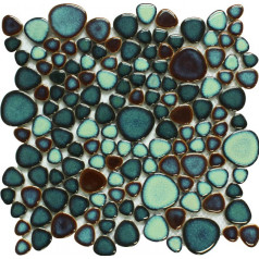 Green Porcelain Tile Pebbles Bath Wall Backsplash Tiles Glazed Ceramic Mosaic Kitchen Walls GPP619A