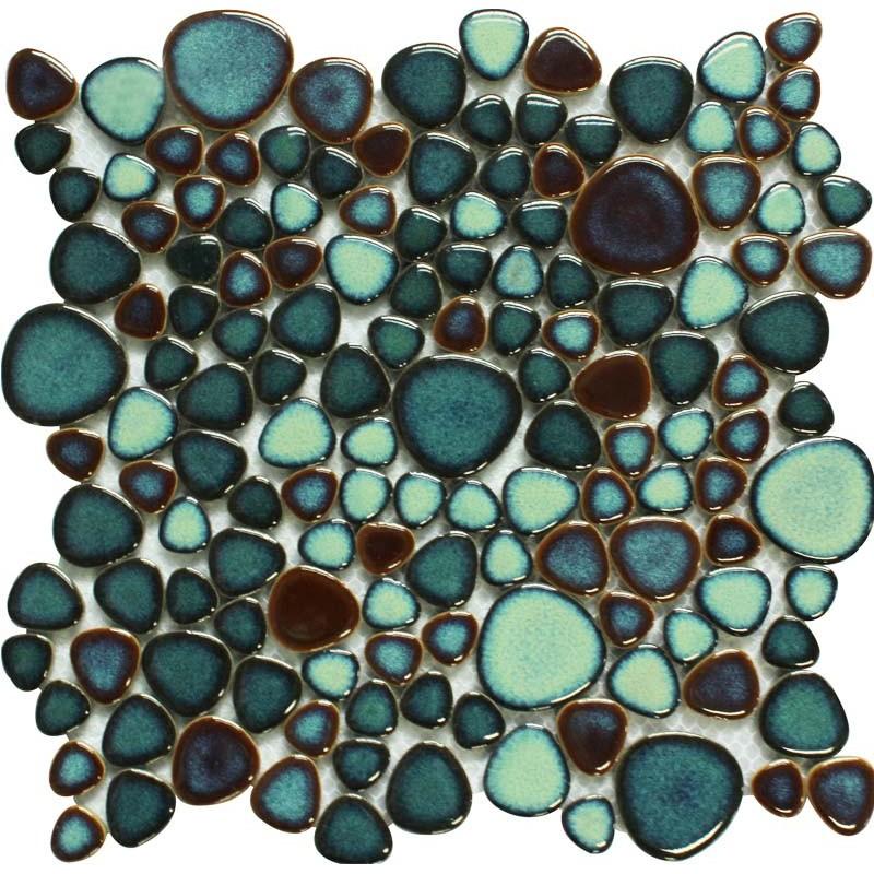 Gold Porcelain Tiles Bathroom Wall Backsplash Glazed: Green Porcelain Tile Pebbles Bath Wall Backsplash Tiles