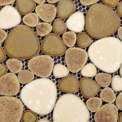 Porcelain Pebble Tile Sheets Bathroom Wall Backsplash Collection Mixed Heart-shaped Mosaic Art