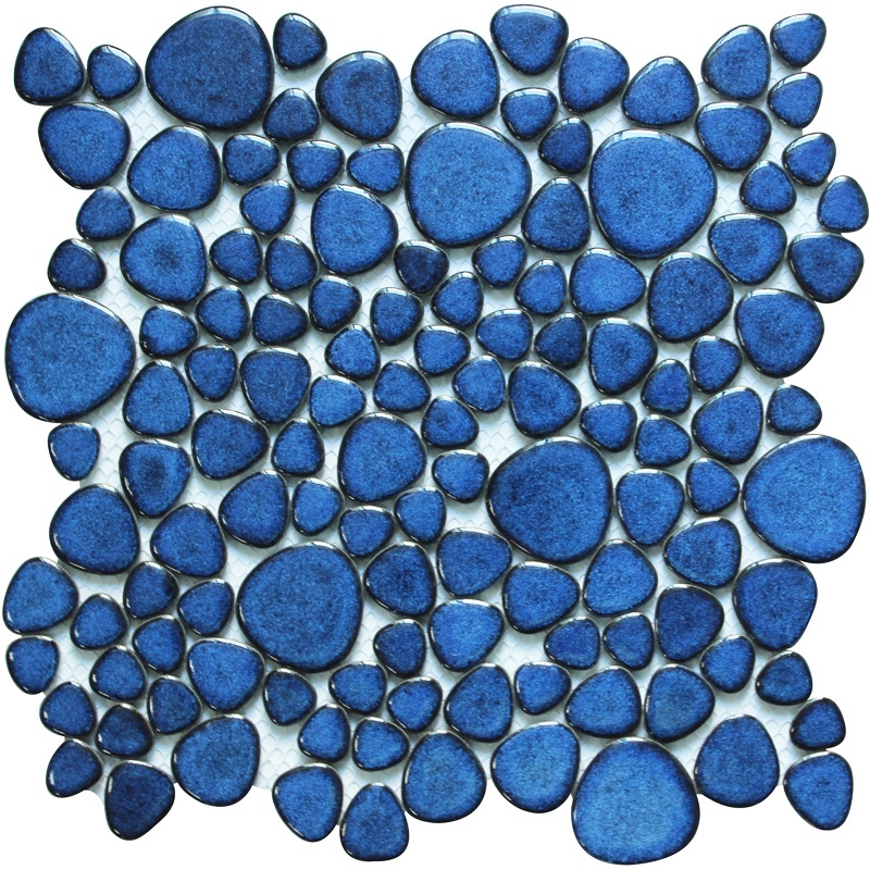 Glazed Porcelain Tile Mosaic Pebble Blue Ceramic Wall