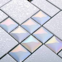 Porcelain Mosaic Floor Tile Grey Square Iridescent Tile Kitchen Backsplash Bathroom Mirror Wall Art