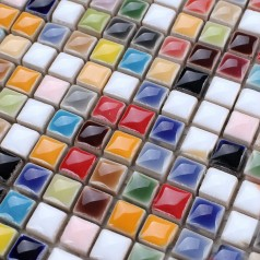 Glaze Porcelain Mosaic Tile Colorful Kitchen Wall Tiles Ceramic Small Tile Squares Backsplash GCP401
