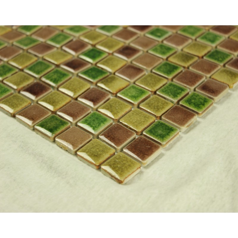Green Porcelain Square Mosaic Tiles Wall Glazed Ceramic