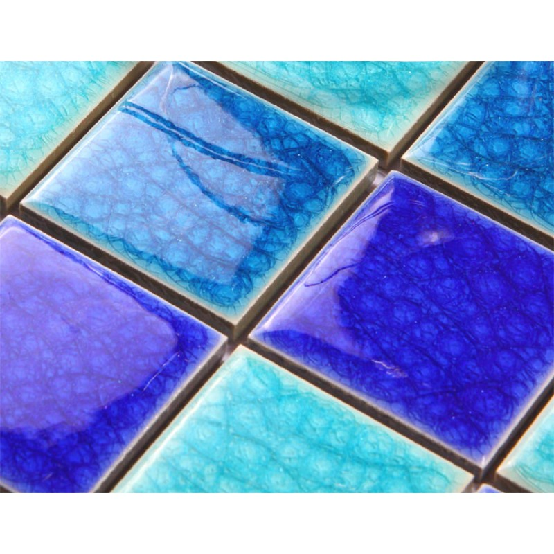 Crackle glass tile with porcelain base swimming pool tiles for Swimming pool tile pictures
