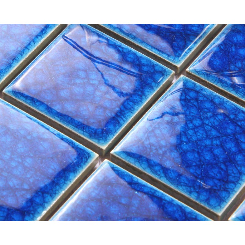 Blue Porcelain Square Mosaic Tiles Design Crackle Glass ...