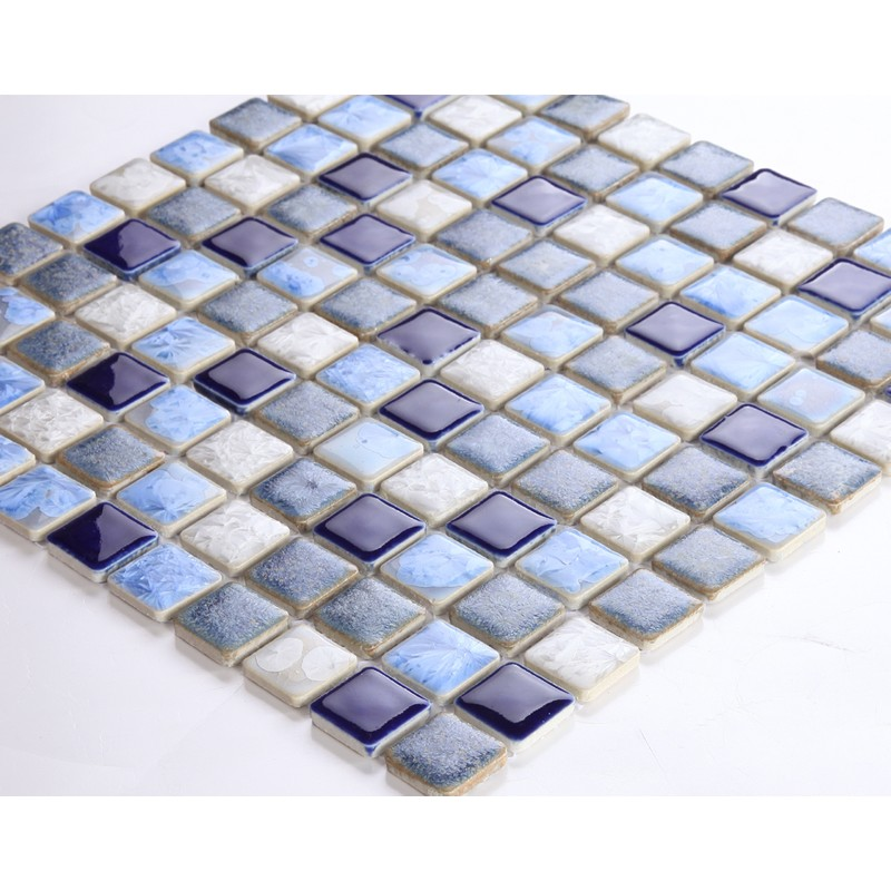 Blue Porcelain Square Mosaic Tiles Design Glazed Ceramic Tile Wall Kitchen Backsplash Ds 552