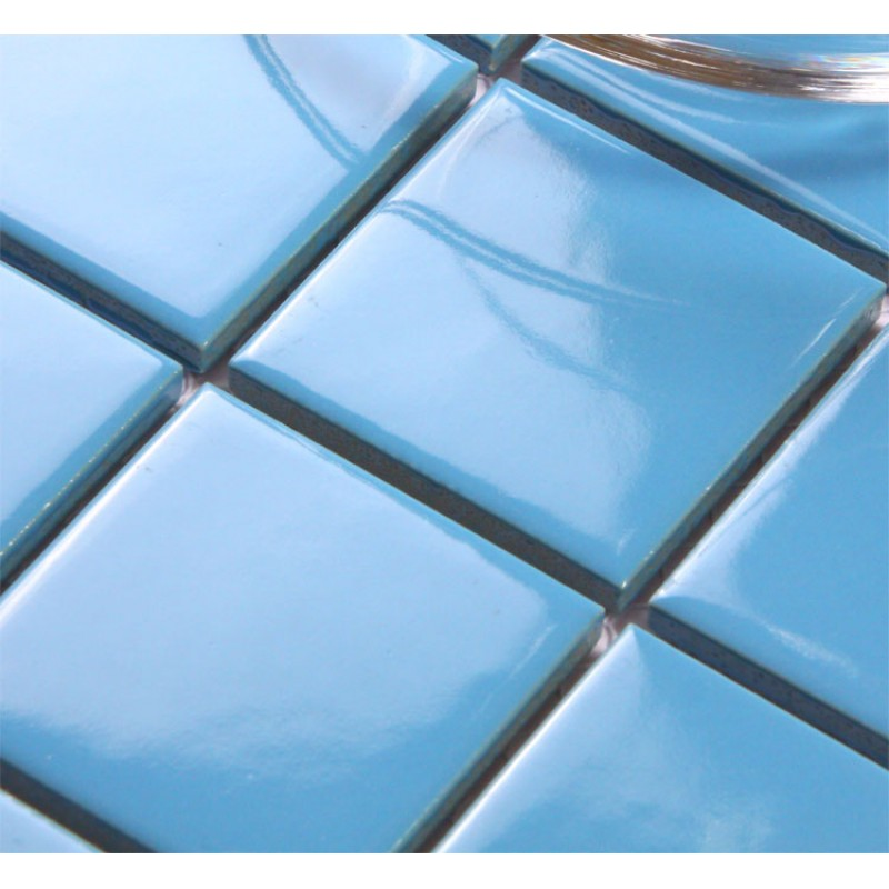 Blue Porcelain Square Mosaic Tiles Wall Design Ceramic Tile Flooring Kitchen