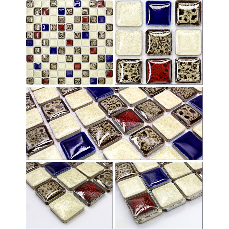 Ceramic Bathroom Tiles Handmade In Italy: Italian Porcelain Tile Square Mosaic Bathroom Shower Tile