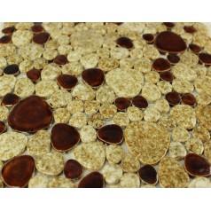 Glazed Porcelain Pebble Mosaic Tiles Wall Design Beige Ceramic Tile Fooring Kitchen Backsplash AB07
