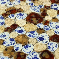 Glazed Porcelain Pebble Mosaic Tiles Blue and White Ceramic Tile Walls Kitchen Backsplash AB30
